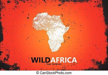 affiche, afrique, conception, sauvage, logo., design.