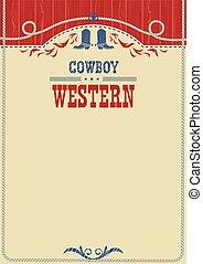 affiche, américain, text., cow-boy