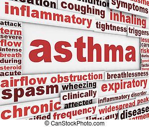 affiche, asthme, fond