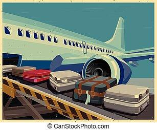 affiche, avion, bagages, vieux, civil