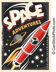 affiche, bateau, retro, fusée, espace