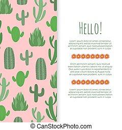 affiche, -, cactus, conception, fleurs, bannière, désert