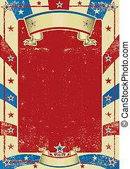 affiche, cadre, utilisé, américain, rouges