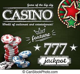affiche, casino, fond