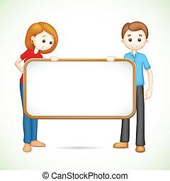 affiche, couple, vecteur, tenue, heureux, 3d