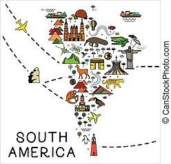affiche, dessin animé, amérique sud, tourisme, america., attractions., guide., animaux, voyage, carte