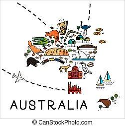 affiche, dessin animé, tourisme, australia., australie, attractions., guide., animaux, voyage, carte