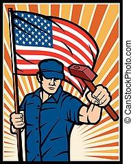 affiche, drapeau, ouvrier, usa