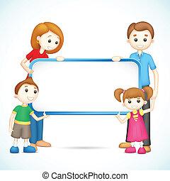 affiche, famille, vecteur, tenue, heureux, 3d