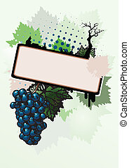 affiche, fond, vin