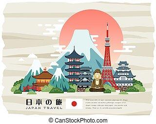 affiche, japon, séduisant, voyage