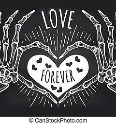 affiche, mains, amour, squelette, tableau