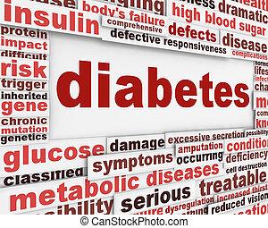 affiche, monde médical, conception, diabète