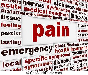affiche, monde médical, douleur, conception