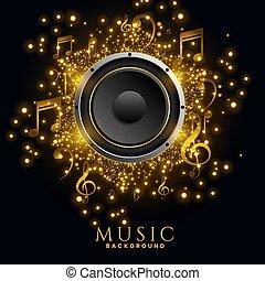 affiche, musique, conception, interlocuteurs, scintillements, arrière-plan doré