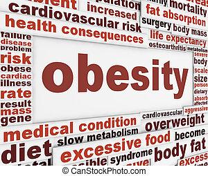 affiche, obésité, conception, monde médical