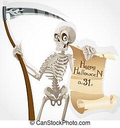 affiche, squelette, faux, invitation, halloween, affichages, fête