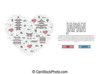 affiche, style, amour, linéaire, japon