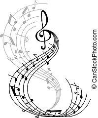 affiche, symbole, note, musique, personnel musical