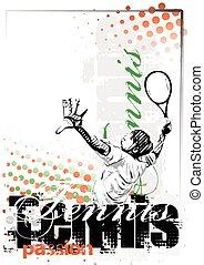 affiche, tennis, fond