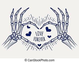 affiche, toujours, amour, squelette, mains