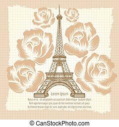 affiche, tour, eiffel, vendange, roses