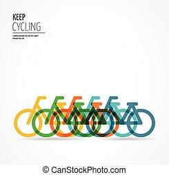 affiche, vélo, coloré