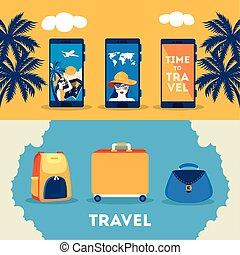 affiche, voyage temps, ensemble, été, icônes