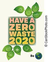 affiche, zéro, comment, taille, écologique, avoir, réduire, 2020, gaspillage, pointes
