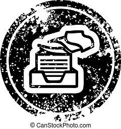 affligé, papier, pile, bureau, icône