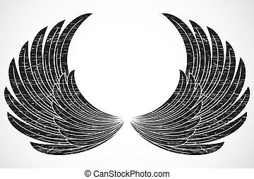 affligé, vecteur, ailes