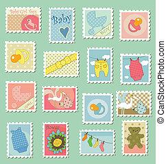 affranchissement, bébé, timbres, thème