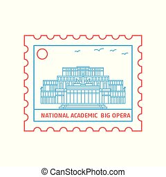 affranchissement, bleu, opéra, grand, national, illustration, timbre, vecteur, academic;, ligne, rouges, style