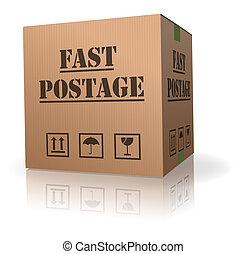 affranchissement, boîte, carton, jeûne, paquet