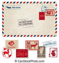 affranchissement, carte postale, vendange, -, noël, timbres, vecteur, album, conception
