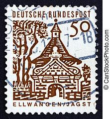 affranchissement, ellwangen, 1964, timbre, allemagne, château, portail