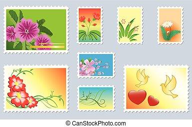 affranchissement, ensemble, -, timbres, vecteur, floral