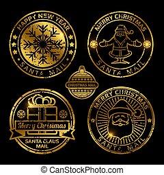 affranchissement, ensemble, vendange, timbres, vecteur, noël