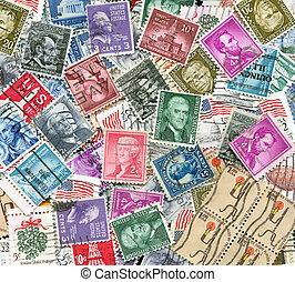 affranchissement, etats-unis, vieux, timbres, toile de fond