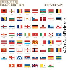 affranchissement, europe, ensemble, timbre, flag., 62, flags., européen