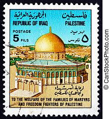 affranchissement, irak, timbre, dôme, rocher, 1977, jérusalem