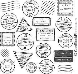 affranchissement, monochrome, timbres, ensemble, retro