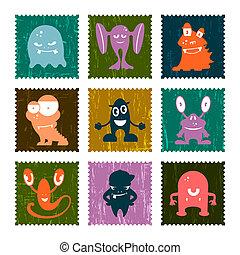 affranchissement, rigolote, ensemble, timbre, set., vecteur, retro, monsters.
