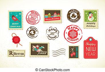 affranchissement, vendange, timbres, ensemble, noël