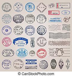 affranchissement, vendange, timbres, vecteur, ensemble