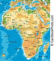 africa-physical, carte