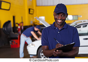 africaine, écriture, américain, mécanicien, véhicule, rapport, mâle