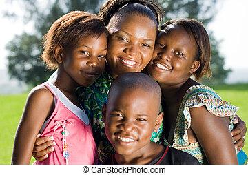 africaine, enfants, mère