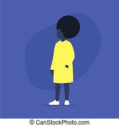 africaine, plus, désinvolte, femme, modèle, corps, movement., porter, vêtements, taille, positif