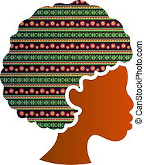 africaine, silhouette, femme, isolé, américain, profil, icône, figure